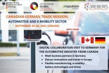 Canadian-German Trade Mission: Automotive and E-mobility sector, September 28-30, 2021 (online)